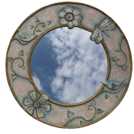 image of Bird and dragon fly mirror by sarah howarth