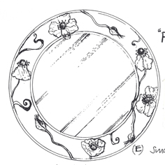 image of line drawing of poppy mirror by Sarah Howarth